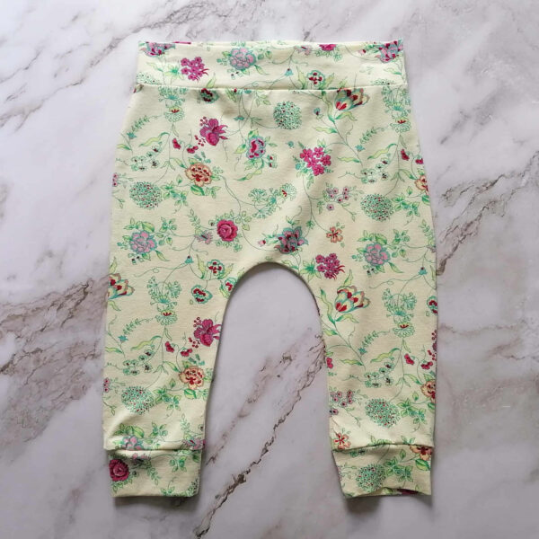 Baby legging tricot bloem ecru