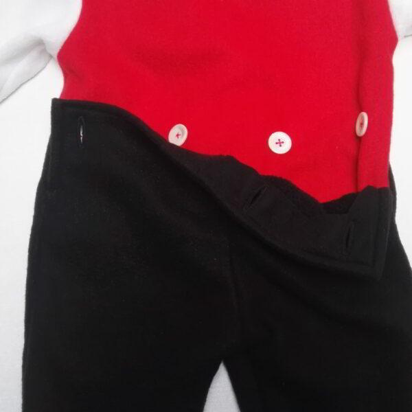 Baby Hansop Fleece Flap Zwart Rood Wit