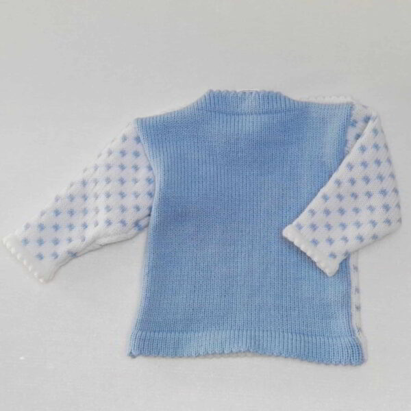 Baby Truitje Gebreid Boy Achter Blauw Wit