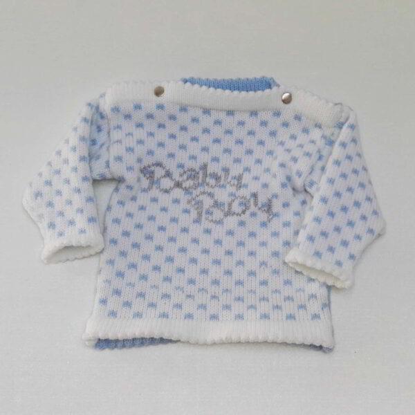 Baby Truitje Gebreid Boy Blauw Wit