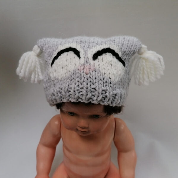 Baby muts uil gebreid grijs