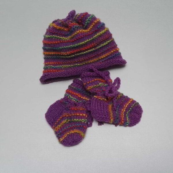 Baby Muts Slofjes ribbel paars