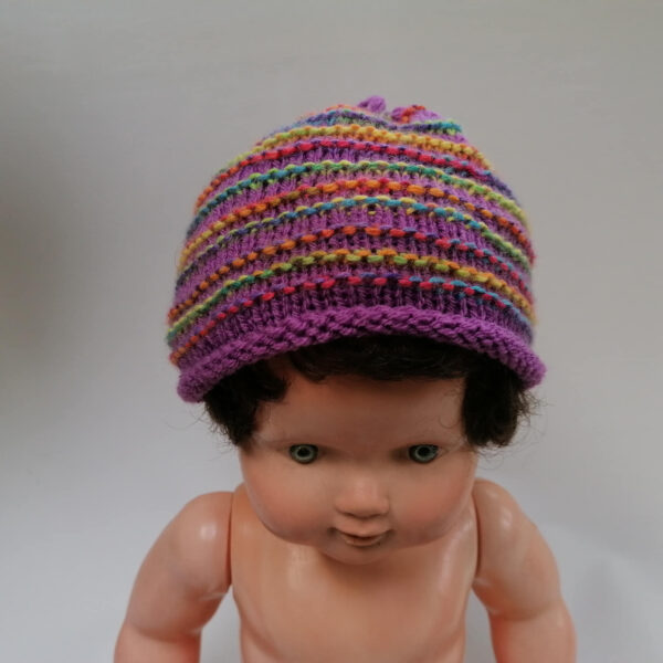 Baby Muts Slofjes ribbel paars voor