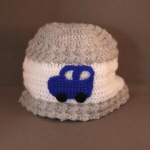 Baby muts gehaakt Auto grijs wit blauw