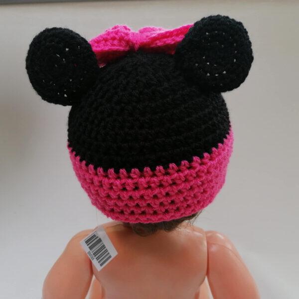 Baby muts gehaakt Minney Mouse achter