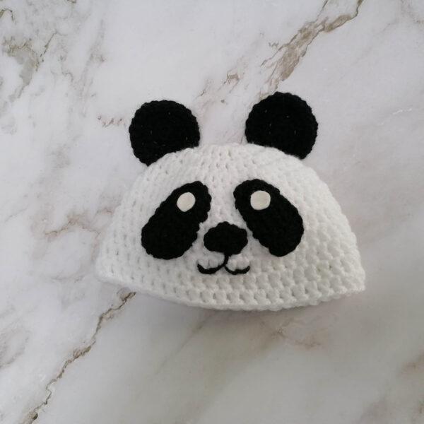 Gehaakte baby muts panda