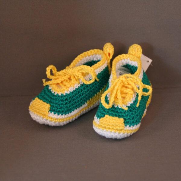 Baby Schoen gympie gehaakt groen geel