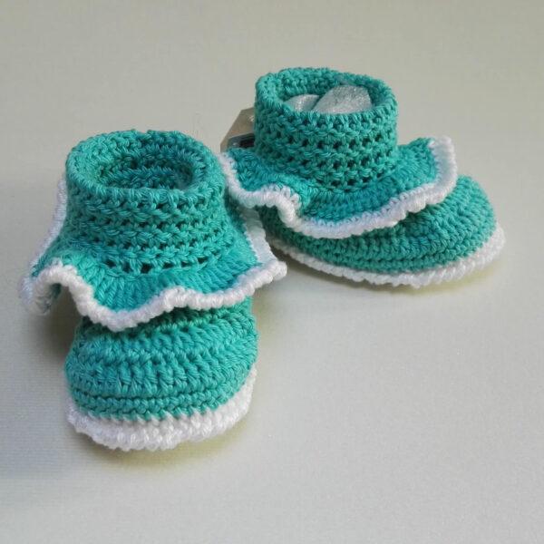 Baby Schoen gehaakt Ruche groen wit