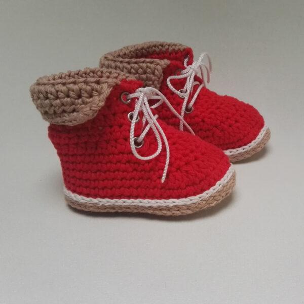 baby schoen Bergschoen gehaakt Rood 1