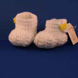 Baby Slof gehaakt Rib wit