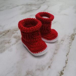Baby laars gehaakt rood wit