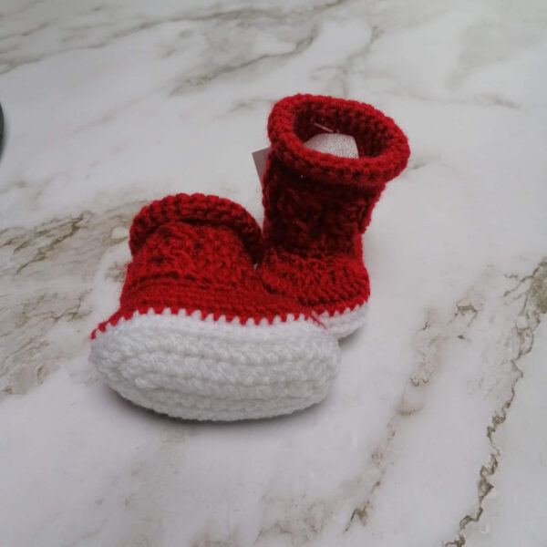 Baby laars gehaakt rood wit onder