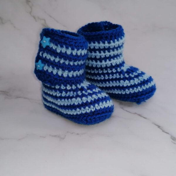 Baby laars gehaakt streep blauw 1