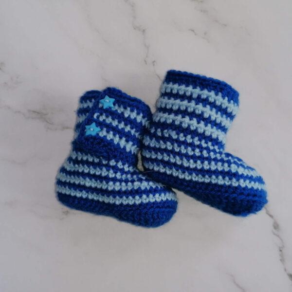Baby laars gehaakt streep blauw