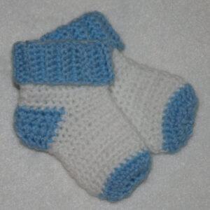 Baby Sokjes gehaakt wit blauw