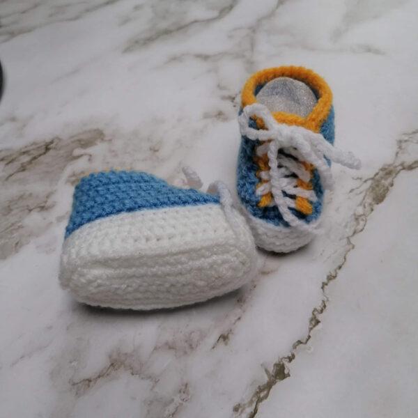 Baby gympie schoen blauw geel onder1