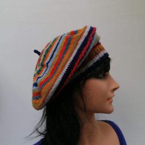 baret damesmuts gebreid wol streep varia