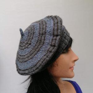 Baret damesmuts gebreid wol blauw grijs