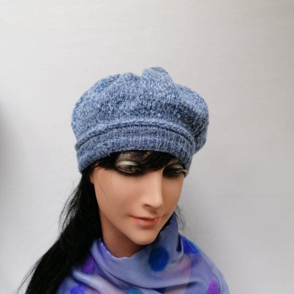 Baret damesmuts gebreid wol bol blauw voor