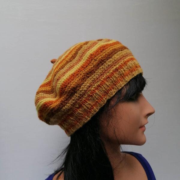 baret streeppatroon bruin