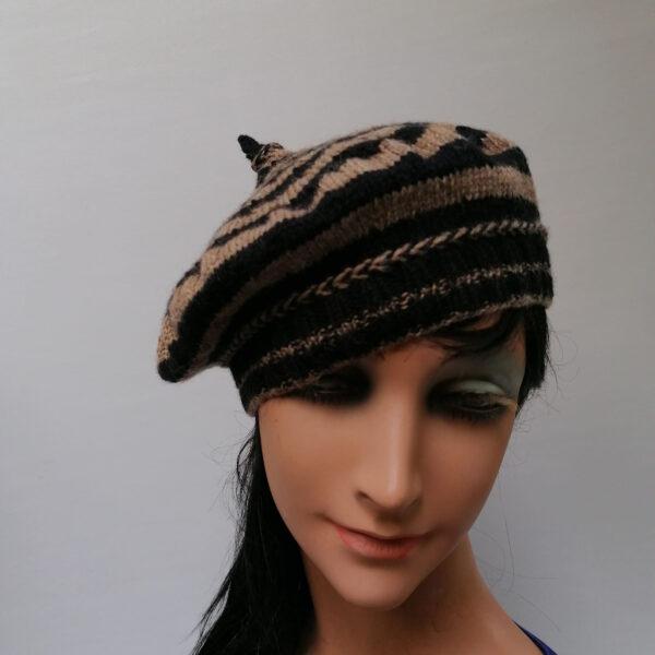 baret damesmuts gebreid wol streep zwart bruin voor