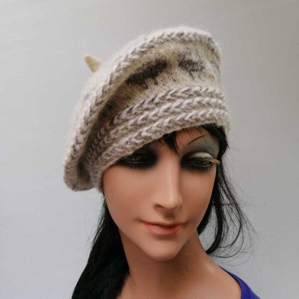 baret damesmuts gebreid wol ecru voor