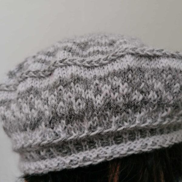 baret damesmuts gebreid wol grijs detail
