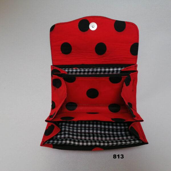 Portefeuille NCW stip zwart rood open