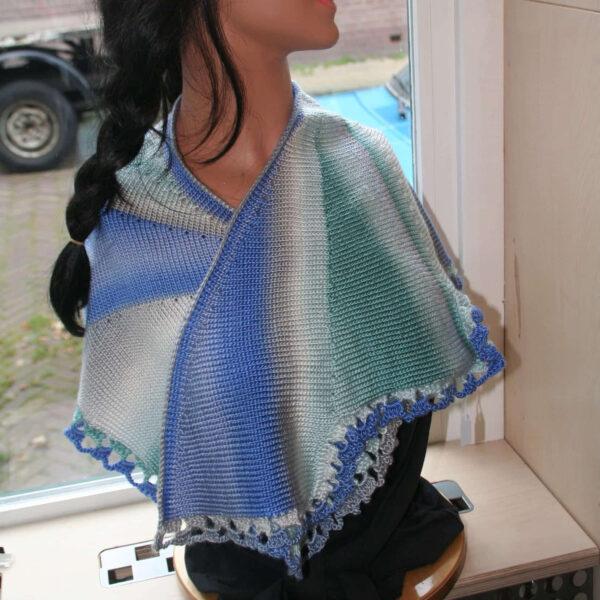 Sjaal omslagdoek gebreid Blauw