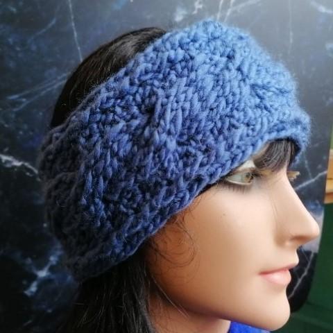Hoofdband-gehaakt-blauw-kabel-warme oren-winter-Metsie