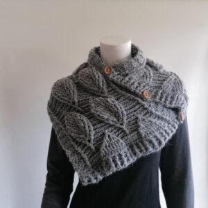 Sjaal bladmotief gebreid grijs