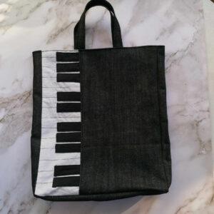 Tas piano spijkerstof zwart voor