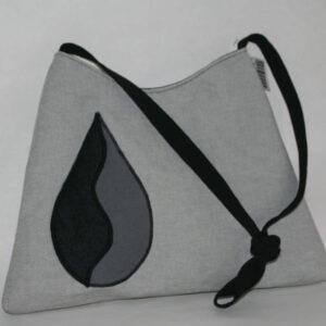 Schouder Tas grijs zwart applicatie 1