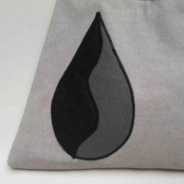 Schouder Tas grijs zwart applicatie Detail