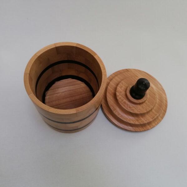 Pot deksel hout gedraaid iepen wengé boven