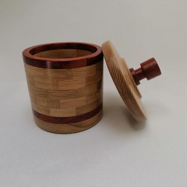 Pot deksel hout gedraaid eiken padoek open