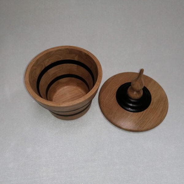 Pot deksel hout gedraaid eiken wengé boven
