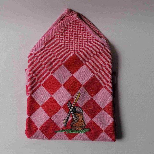 Theedoek geblokt borduurmotief molen rood