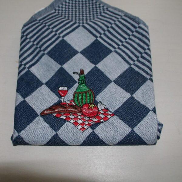 Theedoek geblokt borduurmotief piknik blauw