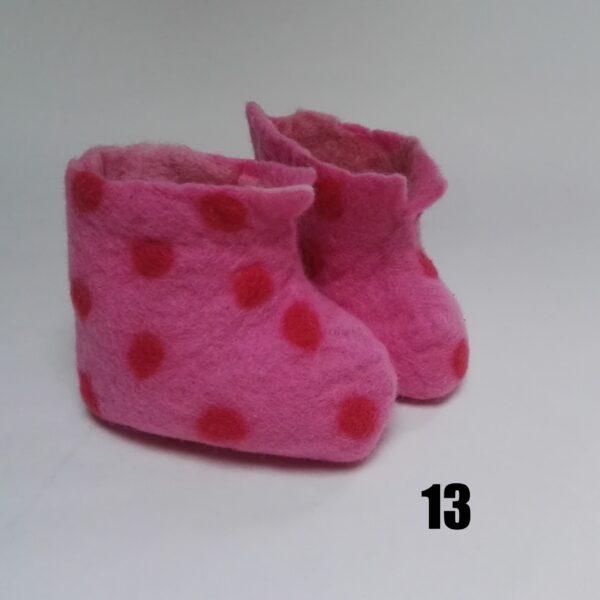 baby vilt laarsje roze stip roze dolly