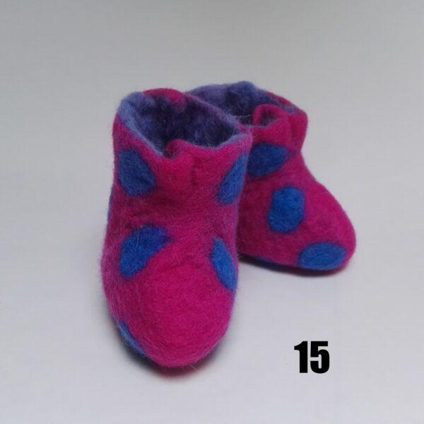 baby vilt laarsje roze stip blauw dolly
