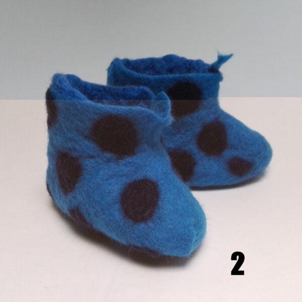 Baby Vilten Laarsje Blauw Stip Blauw Dolly