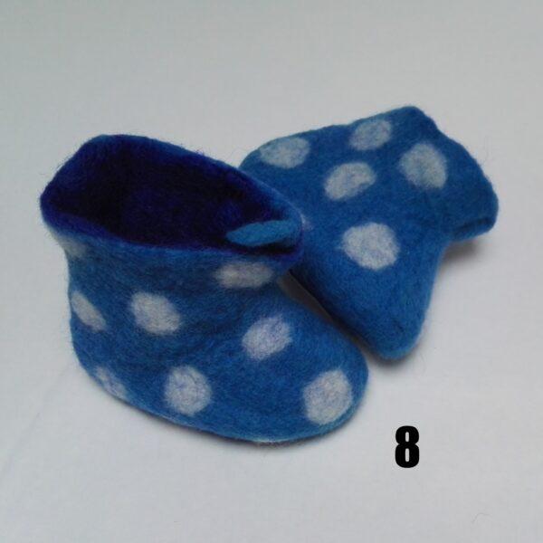 baby vilt laarsje blauw stip wit dolly