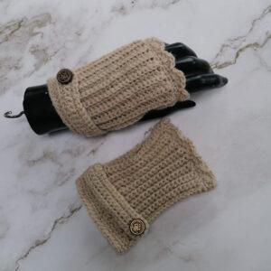 Handschoen vingerloos gehaakt ecru