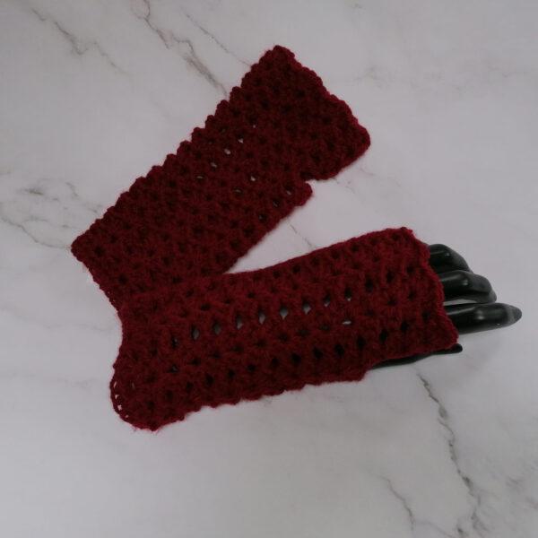 Handschoen vingerloos gehaakt rood