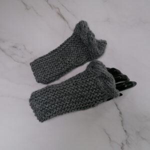Handschoen vingerloos ribbel kabel grijs