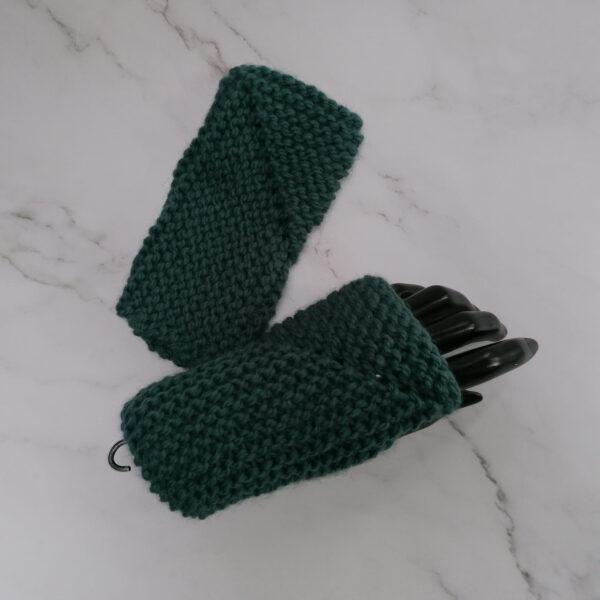 Handschoen vingerloos gebreid ribbel groen